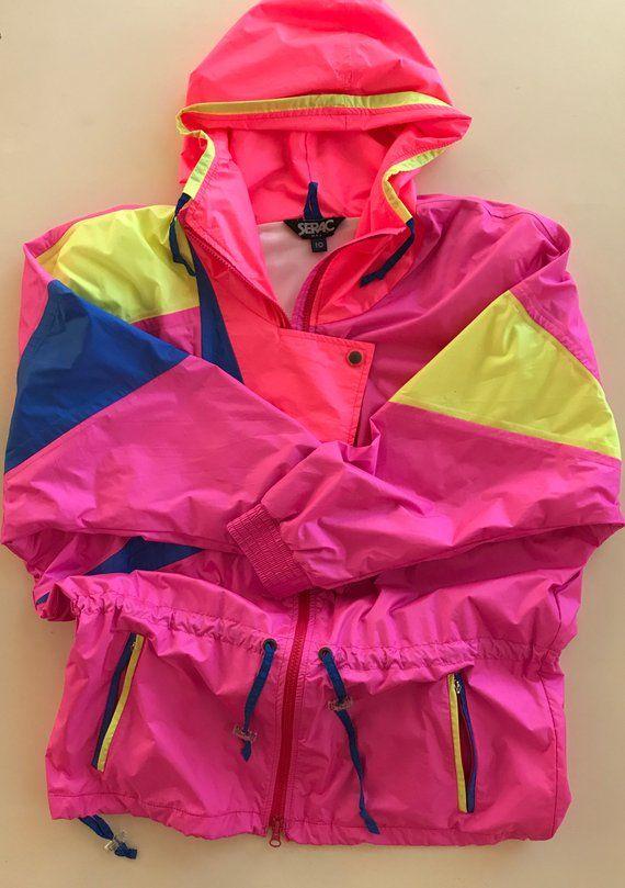Retro Ski Jacket Serac So Cool! Neon Pink w Retro Design