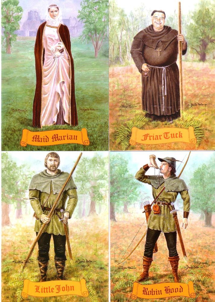 Robin Hood, Maid Marian, Little John  Friar Tuck set of 4 Postcards: