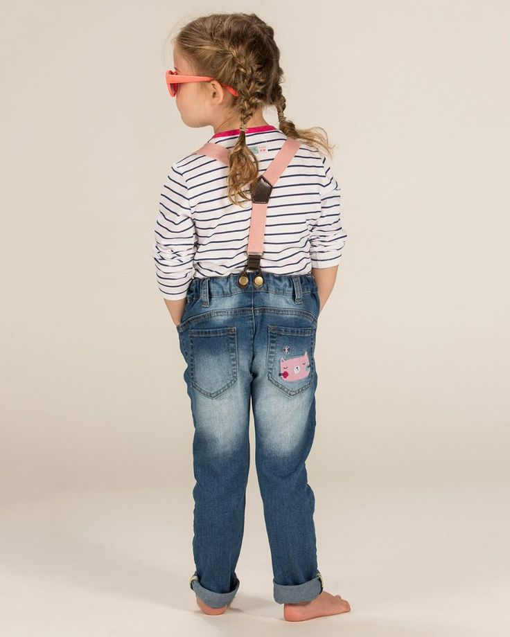Our cute Fairy Cat embroidered skinny jeans with pink braces for girls are perfect for playtime.  Supersoft washed denim Intricate embroidery Pink adjustable removeable braces 78% Cotton / 20% Polyester / 2% elastane Adjustable button elasticated waist for comfort and fit
