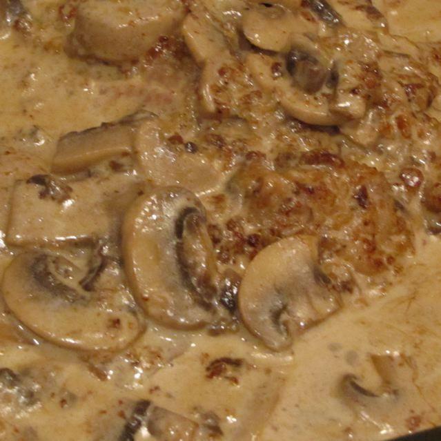 Rahmschnitzel (German cream cutlets)... will make with chicken....