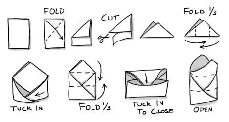 How To Fold A Small Envelope From Scrap Paper For Storing
