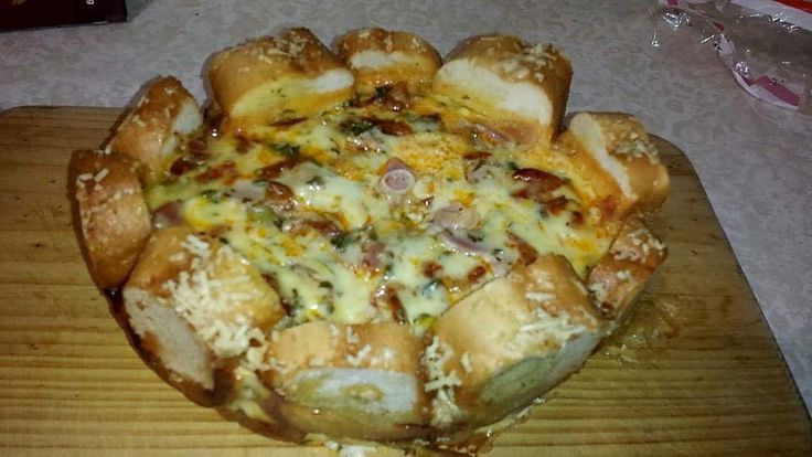 Garlic Bread, Bacon & Egg Delight |