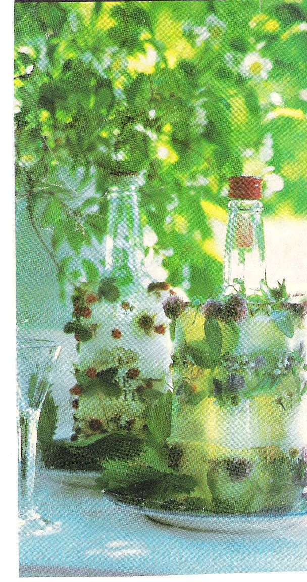 so easy to do - just freeze the bottles in an empty milk carton after you fill it with water and fruit/flowers.