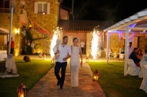Magical Fireworks entrance of little Christening Girl with her proud parents - Location Ktima Tritsimpida Greece - Summer Night - Photography Con Tsioukis - ICON PHOTOGRAPHY MELBOURNE - www.iconphotos.com.au
