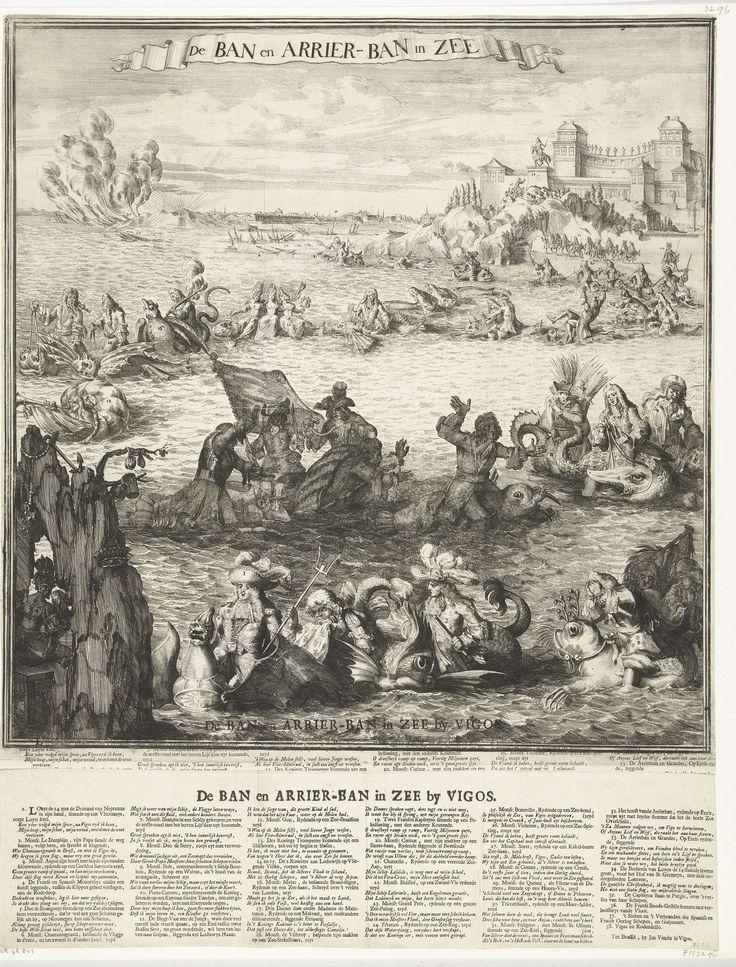 Jan Vendu in Vigos   Spotprent op het nemen van de zilvervloot bij Vigo, 1702, Jan Vendu in Vigos, 1702   Spotprent op het nemen van de Spaanse zilvervloot op 23 oktober 1702. De zilvervloot lag onder bescherming van een vloot onder bevel van de Franse admiraal Chateaurenault bij Vigo voor de Spaanse kust. In het verschiet de baai van Vigo en de gezonken schepen, in het midden en op de voorgrond een lange ketting van dolfijnen en zeemonsters waarop Lodewijk XIV, de dauphin, admiraal…