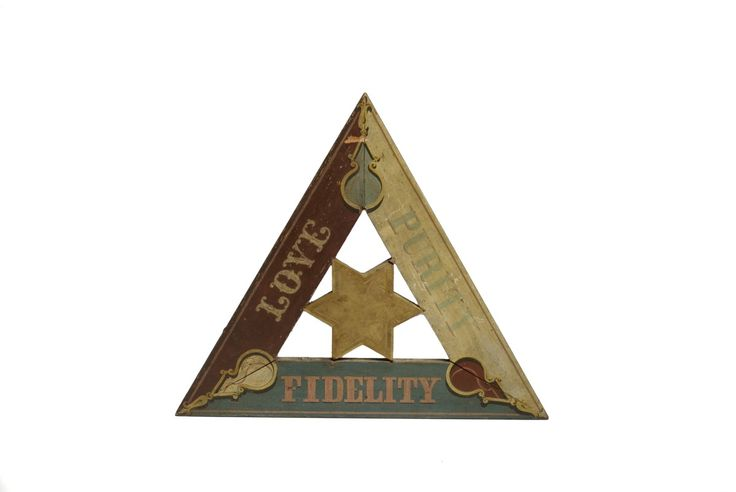 LOVE, PURITY, FIDELITY PAINTED MASONIC SIGN OF TRIANGULAR FORM. | Northeast Auctions