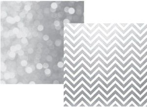 Simple Stories The Story of Us Silver Chevron / Bokeh Wedding Scrapbook Paper - 11 Main