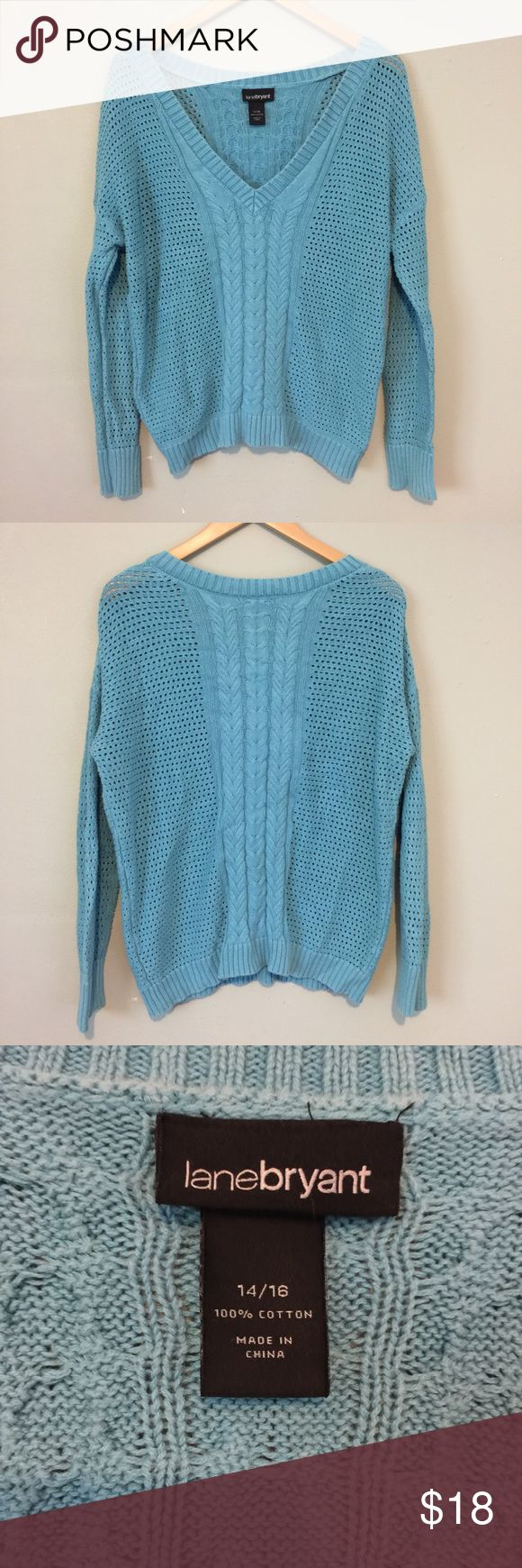 Lane Bryant knit loose for sweater blue aqua v Worn but great condition. Worn meaning there is a little fading but looks like the style. This sweater is a little short hitting right at the tops of the jeans for me. This is not a crop however. I would say it fits a medium or large best if you like the looser look like I do. Lane Bryant Sweaters V-Necks