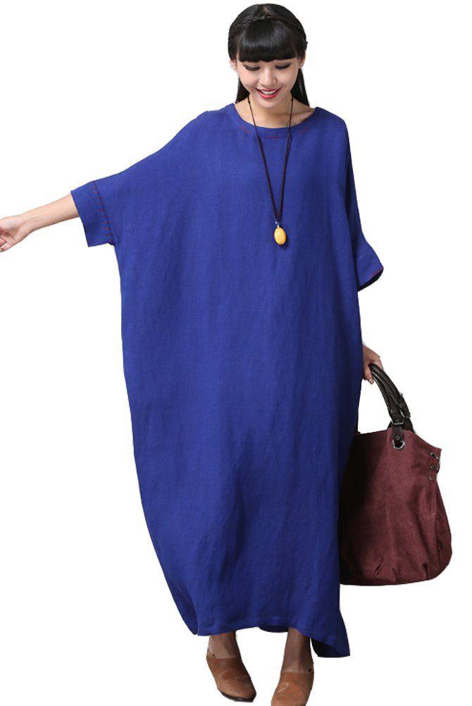 Mordenmiss Women's Bat Sleeve Summer Maxi Dress New L Blue | Amazon.com