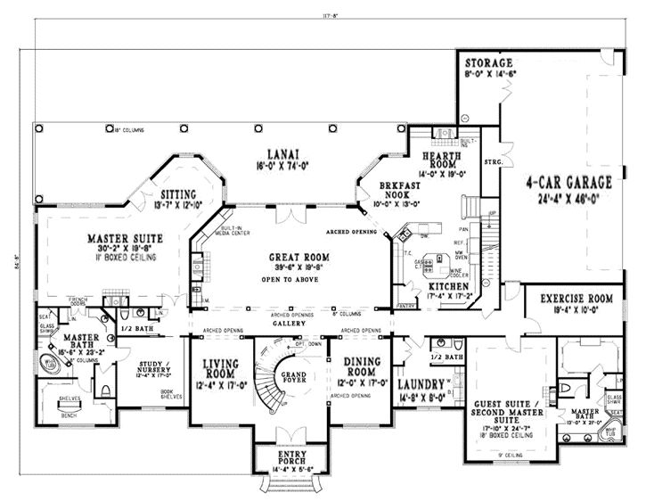 One story house plans over 5000 square feet for House plans 4000 to 5000 square feet