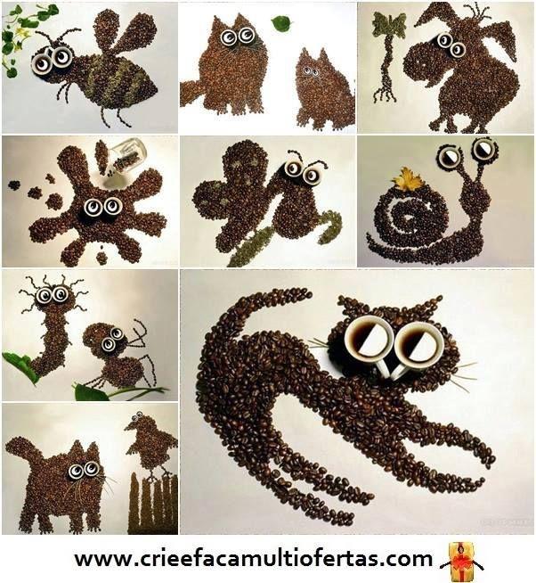 animales hechos con semilla de café