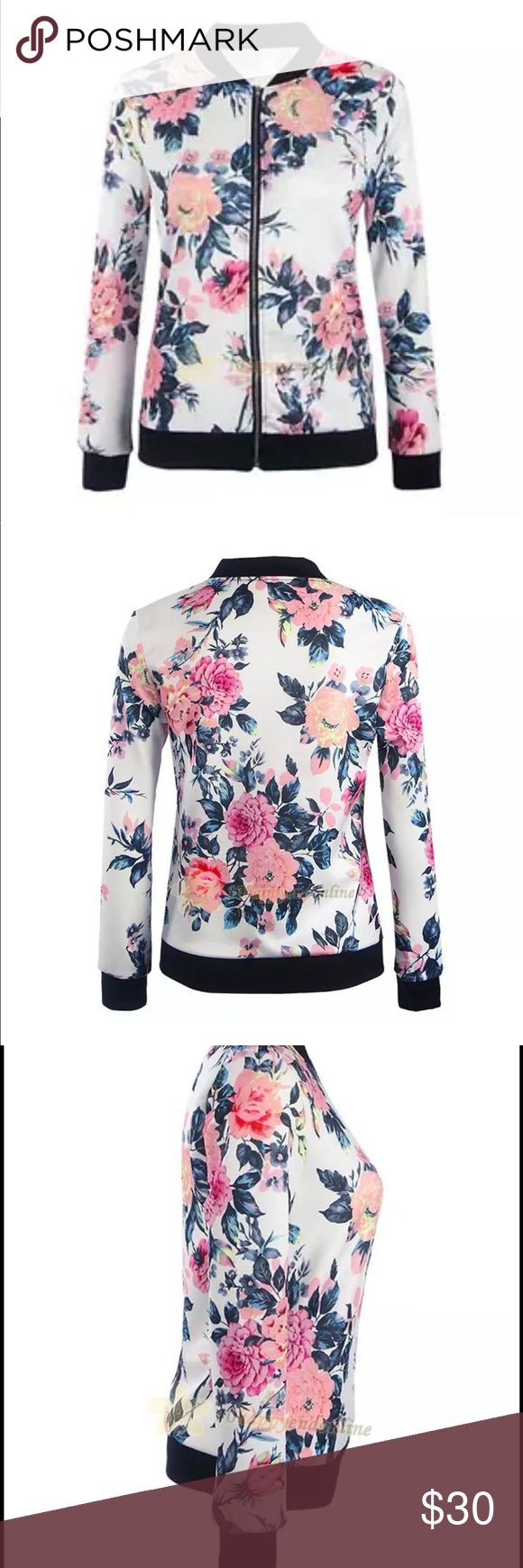 FLORAL BOMBER Trendy floral bomber jacket! Lightweight for wear to those nighttime concerts or festivals!! Just enough warmth and so pretty!! Jackets & Coats