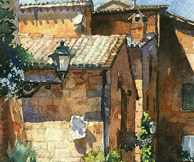 Vladislav Yeliseyev  This watercolor captures the cacophony of lines and angles these old stone buildings create