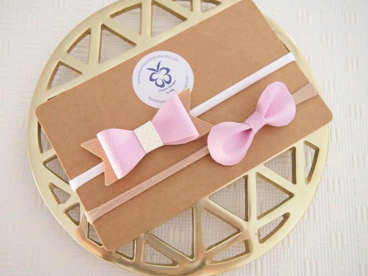 Toasted Pink Marshmallow faux leather bow, THIN nylon headbands - newborn infant toddler - Baby photoshoots - birthday party by ThemBowsbyKathy on Etsy