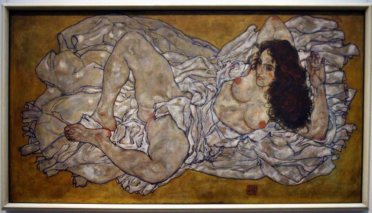 Egon SCHIELE, Femme allongée, 1917, huile sur toile, Vienne, musée…