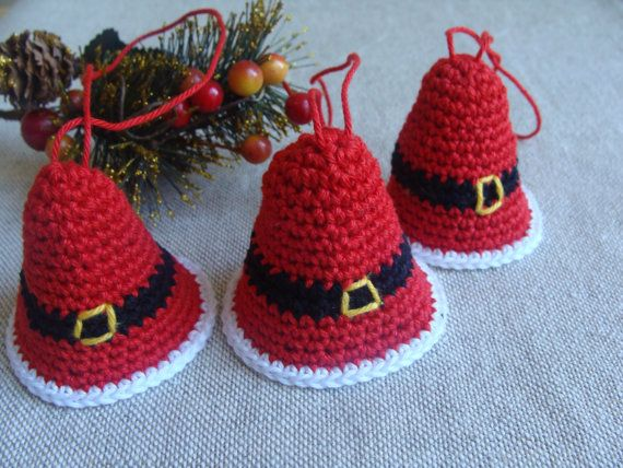 Christmas Bell Ornaments , Christmas Decorations, Crochet Bell, Christmas Ornaments, Home Decor, Christmas Tree Decor, Xmas Ornaments