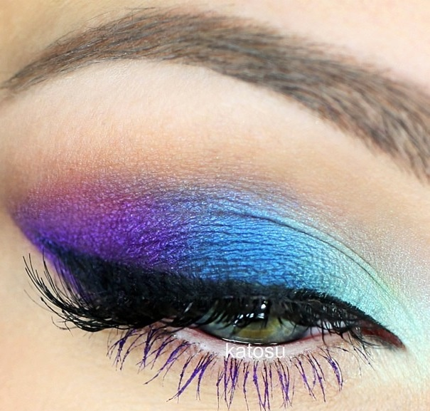 Purple and blue smokey eye. If the inner and outer corners were different... #wedding