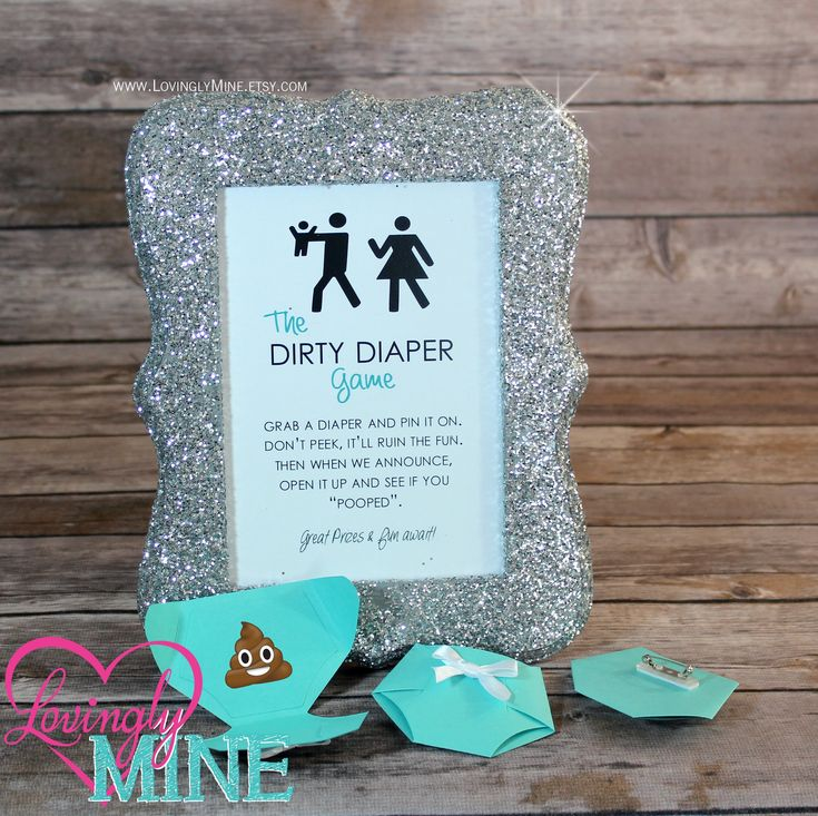 Dirty Diaper Game Light Teal Diaper Pins and matching Silver Glitter Frame - Baby Shower Games - Additional Colors Available by LovinglyMine on Etsy ... Funny Baby Shower Game Ideas, Unique Baby shower games, gender reveal games
