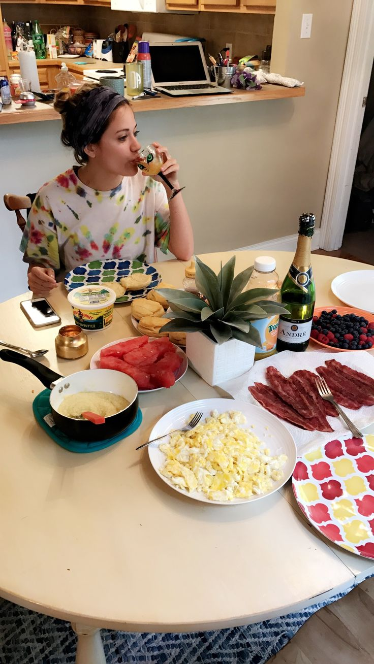 Morning breakfast and mimosas