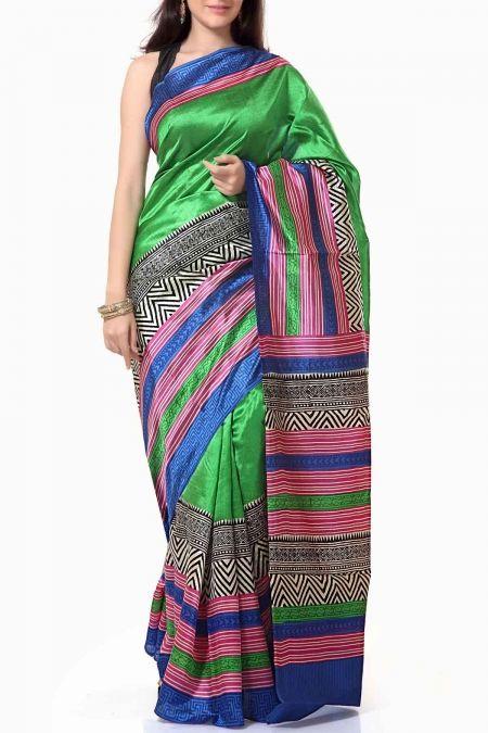 Bright Green Dupion Silk Block Printed Saree
