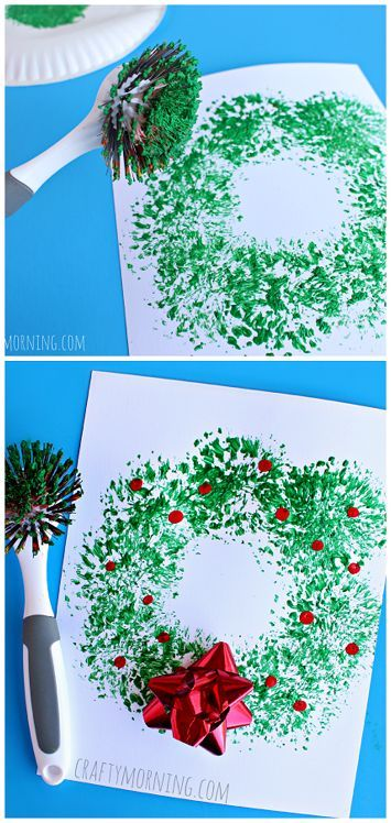 Dish Brush Wreath Craft - Easy Christmas craft for kids to make! | http://CraftyMorning.com