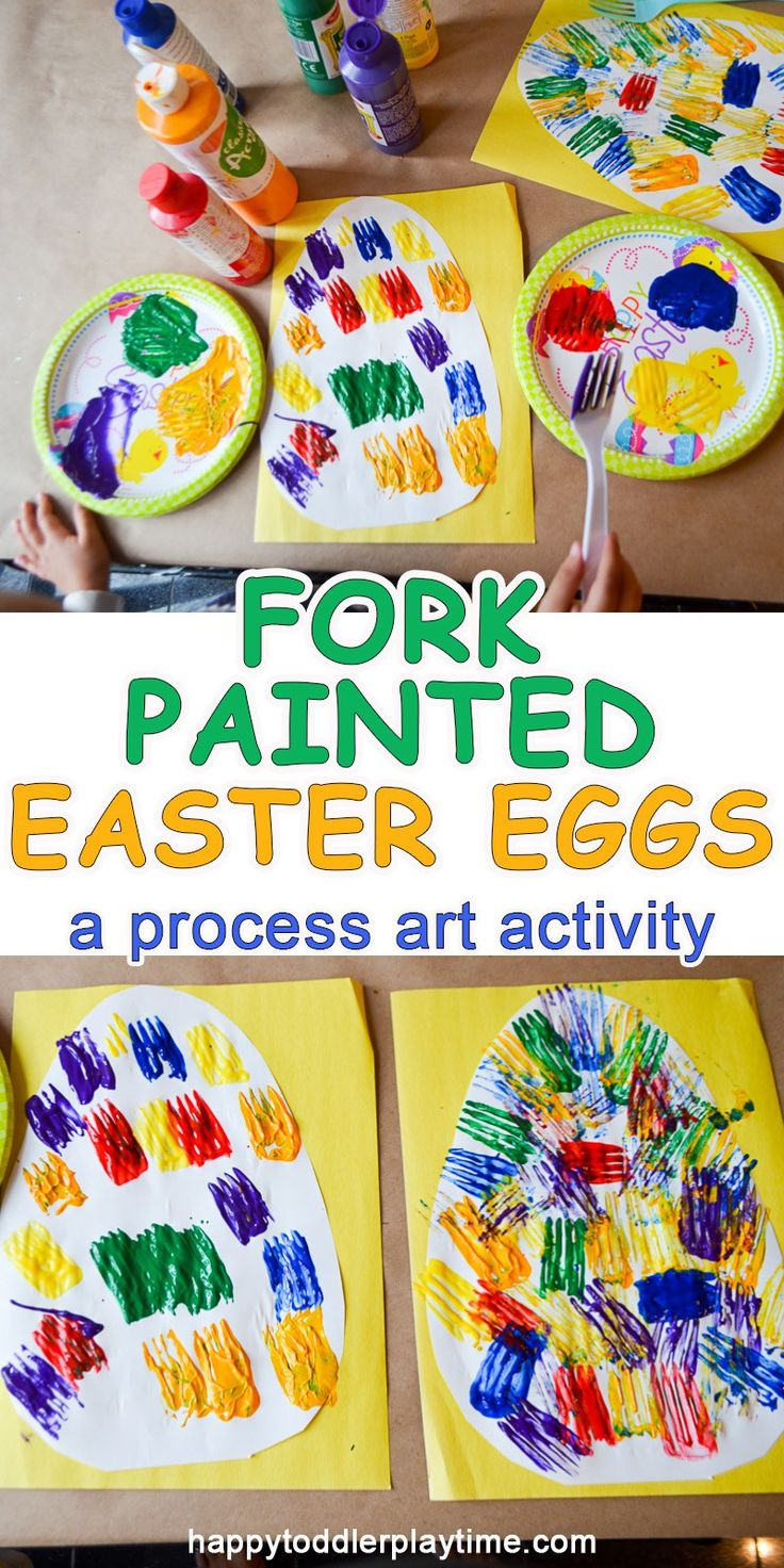 This is a fun and easy Easter Egg craft perfect for toddlers and preschoolers. Paint Easter eggs using a fork!