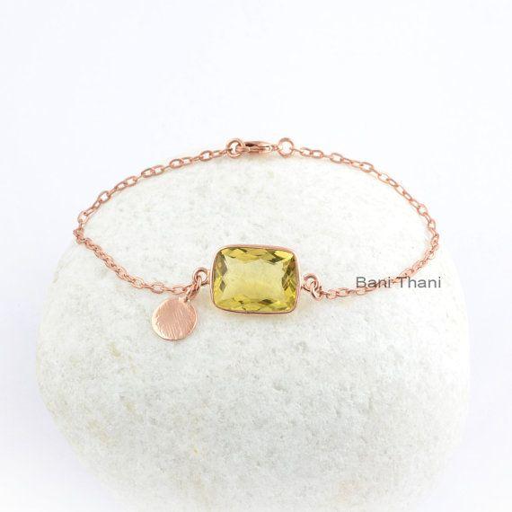 Gemstone Bracelet, Lemon Quartz 12x16 mm Rounded Rectangle Shape Bracelet, Beautiful Handmade Bracelet, Valentines day Gift for Friend