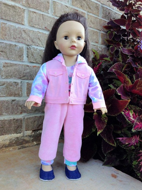 18 Inch Doll Pink Jean Jacket Hoodie and by PincushionsAndPaper