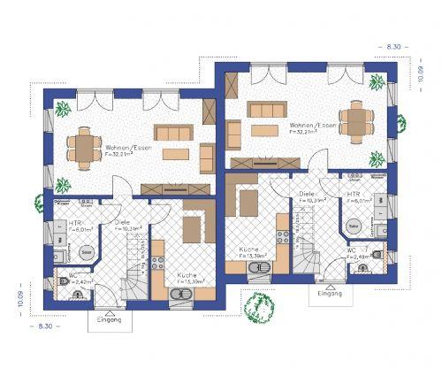 Grundriss Doppel-Moonlight 130 EG 64,34 m²