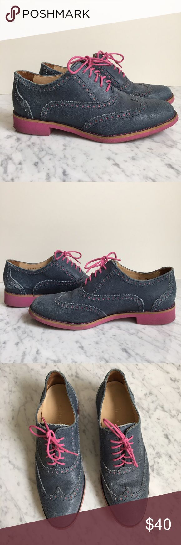 Cole Haan size 7 women's oxfords Lightly used pair of size 7 Cole Haan navy blue oxfords. Contrast raspberry colored soles and laces and decorative brogue detail around the toe. Excellent condition as they were an impulse buy but a color I never have a reason to wear. Super comfortable and stylish to boot! Genuine shoes as they were purchased here in NYC at the Cole Haan store. Cole Haan Shoes
