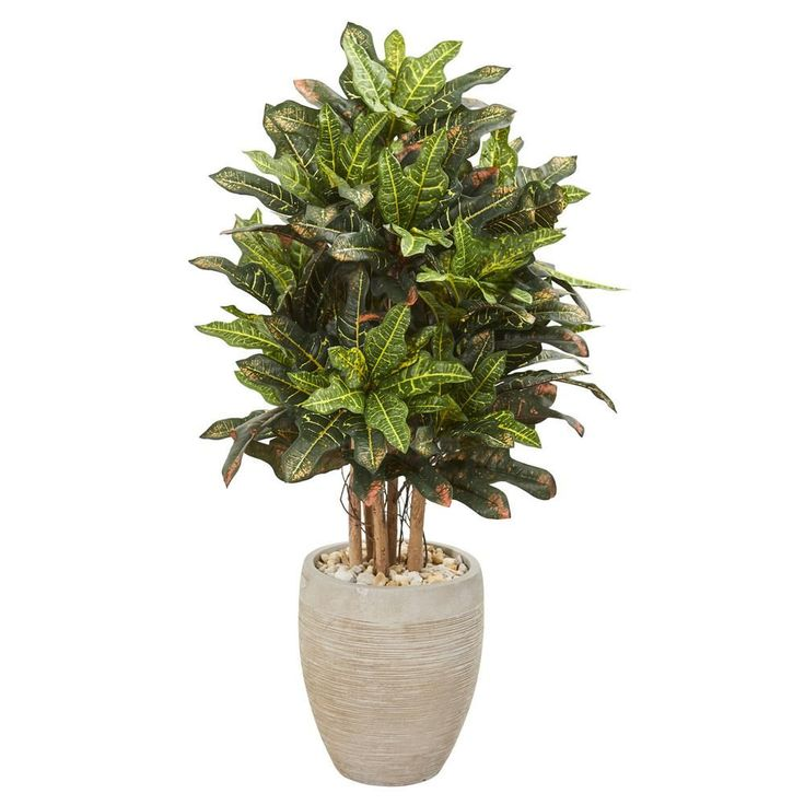 Nearly natural 35 ft indoor croton artificial plant in