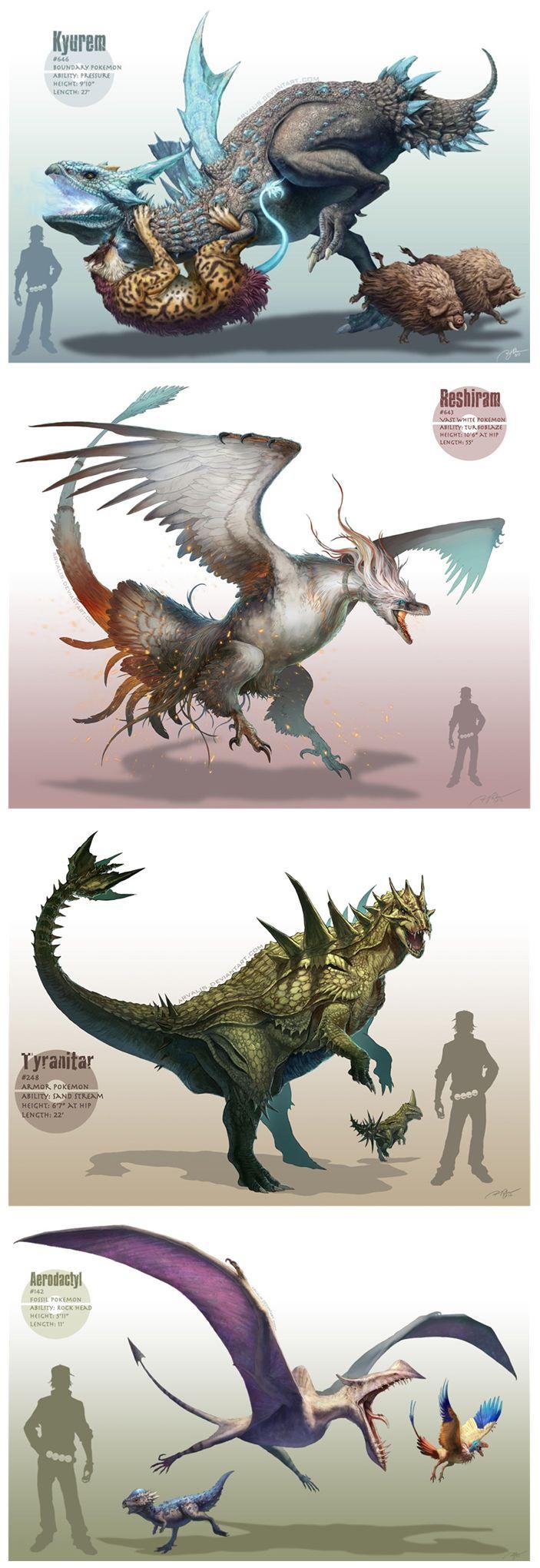 Realistic drawn pokemon  ...  From arvalis ...  raikou, kyurem, piloswine, reshiram, tyranitar, larvitar, cranidos, aerodactyl, archen, pokemon