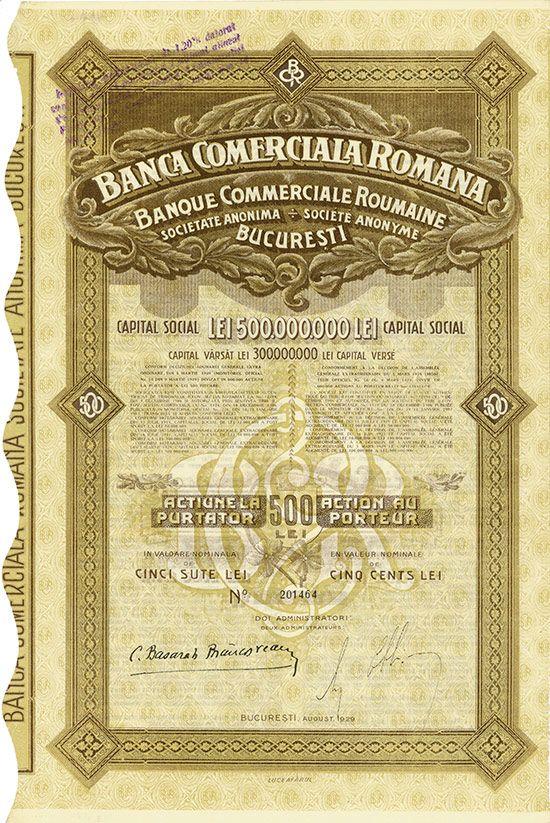 HWPH AG - Historic stock certificates - Banca Comercialia Romana / Banque Commerciale Roumaine