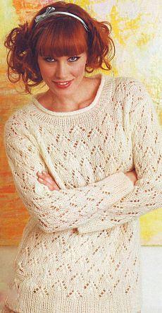 Белый ажурный пуловер спицами | Рукоделие и вышивка