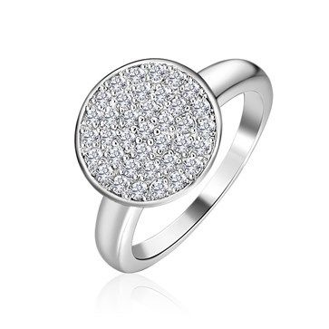 RING KAGI COSMOS RHODIUM PLATED PAVE SET ROUND TOP CLEAR CUBIC ZIRCONIA SIZE 7 N1/2 - Jons Family Jewellers