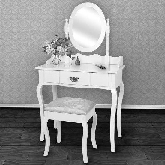 TOALETKA KOSMETYCZNA z lustrem   stołek j2