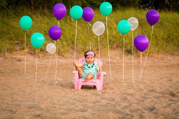 first birthday, photo, girl, beach photography, one, mermaid, balloons, outdoor, ideas
