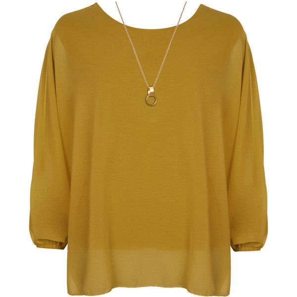Nora Baggy Batwing Sleeve Necklace Top ($25) ❤ liked on Polyvore featuring tops, mustard, plus size, neon yellow top, bat sleeve tops, layered tops, mustard yellow top and chiffon tops