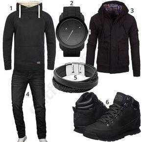 Schwarzer Männer-Style mit Hoodie, Armband und Stiefeln – Dana Ismaïl