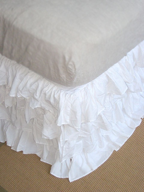 White Crib Bed Skirt With Poms