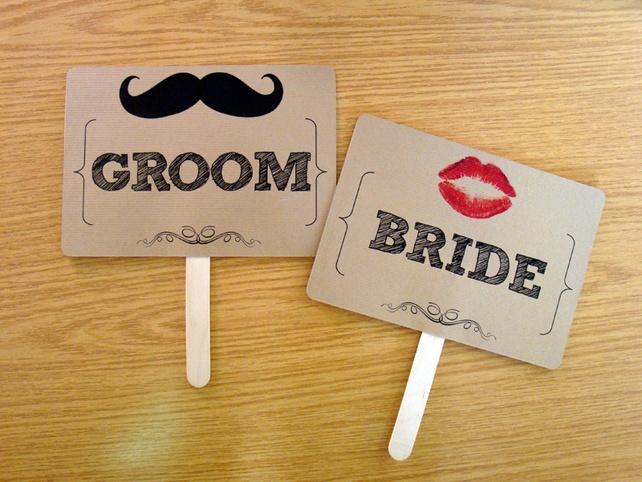Bride  Groom wedding photo prop sign £5.95