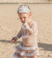 Mama Me Collections girls long sleeve rash shirt and swim skirt #mamame #girls #swim