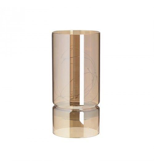 METAL_GLASS CANDLE HOLDER W_LED IN GOLDEN D9X19