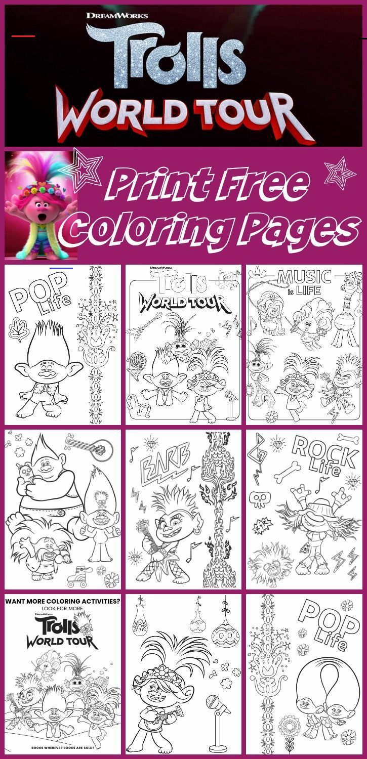 Trolls World Tour Free Printable Coloring Pages 9 Total Coloringsheets Print Any Of These Free Printable Trolls World Tour Party Pack That Includes Recip I 2020