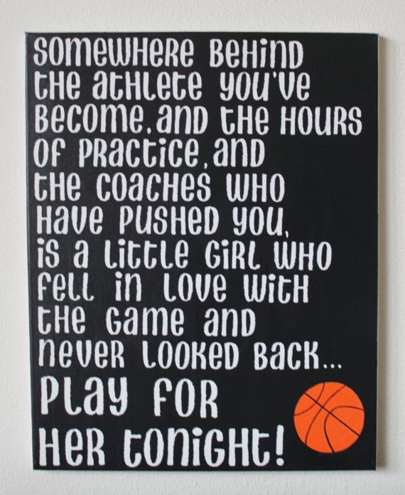 "Hand painted canvas 16x20 Mia Hamm quote "" Somewhere behind the athlete you've become, and the hours of practice, and the coaches who have pushed you, is a little girl who fell in love with the game and never looked back... play for her."" by SerendipitysSigns, $50.00"