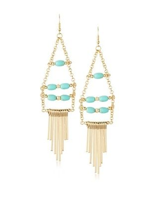 54% OFF Sparkling Sage Beaded Fringe Drop Earrings