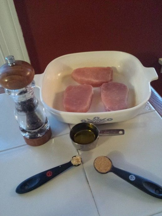 All the Ingredients you need for a tasty Baked Pork Chop!