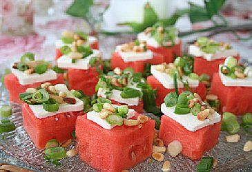 ~Tapas With Watermelon And Feta Cheese~