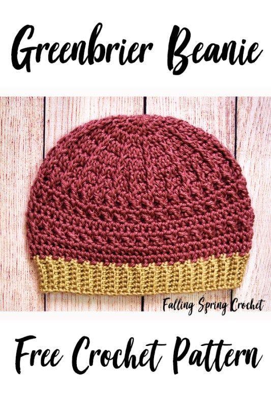 f76053d27 Falling Spring Crochet Greenbrier Beanie Crochet Pattern Image for Pinterest
