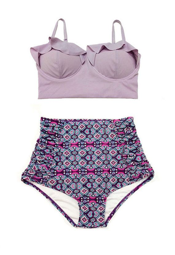 Seriously considering ordering this swimsuit! Lavender Midkini Top and Flora Ruched High Waisted by venderstore